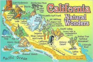 California natural wonders map